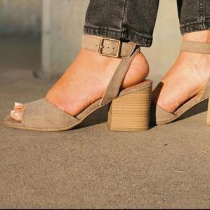 <3 Open Toe Microsuede Quarter Strap Heele…